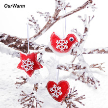 Ourwarm 3Pcs Christmas Tree Hanging Ornaments Chinese New Year Decorations Red Felt Bird for Home Xmas Party Decoration Supplies(China)