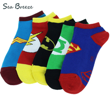 5 pairs 100% Cotton summer Cartoon Superman women American Super hero Batman Socks Breathable Couple Boat Socks men Short socks(China)