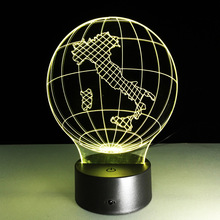Trade Italy Map 3d 7 Color Night Light Touch Type Usb Power Supply Acrylic Led Lamp Luminaria De Mesa 3d Light Fixtures