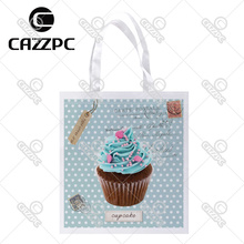 Blue Green Vintage Dot Postcard Cute Cupcake Cate Food Print Custom individual lightweight polyester fabric Reusable Bag gift