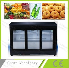 330L commercial freezer, three glass sliding doors fruit/drink/cake/bread refrigerator, air cooling frige display case(China)