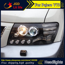 Free shipping ! Car styling LED HID Rio LED headlights Head Lamp case for Mitsubishi Pajero V73 2003-2008 Bi-Xenon Lens low beam