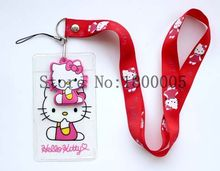 100 pcs Hello Kitty Lanyard High Quality 3D Cartoon Lovely Cute KT cat Lanyard ID badge holder key neck strap for free shipping