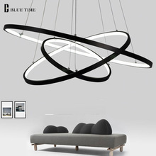 Modern pendant lights for living room dining room 4/3/2/1 Circle Rings acrylic aluminum body LED Lighting ceiling Lamp fixtures