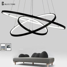 Glod Black White Color Modern pendant lights for living room dining room 4/3/2/1 Circle Rings LED Lighting ceiling Lamp fixtures(China)