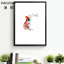 HAOCHU Low Poly Geometric Coral French Horn Instrument Canvas Painting Hand painted Abstract Poster Music Studio Bedroom Artwork(China)