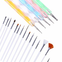 20pcs/set Nail Art Brushes Design Set Dotting Painting Drawing Polish Brush Pen Tools Cosmetic Brush Makeup Accessories Women