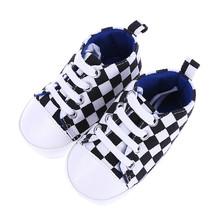 Baby Shoes Girls Boys Toddler Shoe Canvas Shoes Soft Prewalkers Casual First Walkers White and Black Grid