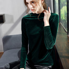 Women Velour T Shirt 2018 Autumn Winter Hot Fashion Plus Size Turtleneck  Velvet Shirt Female Long Sleeve Slim Tops T-shirts 503d4506b4b2