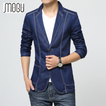 MOGU Denim Blazer Men 2017 Spring New Fashion Casual Blazer Jean Coats For Male Slim Fit Suits Asian Size S-3XL Men's Jacket