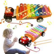 Drag Tractor Knocking Piano Music Instrument Toys Baby Wooden Learning Toy Gifts