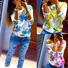 2017 O-neck Fashion Women's Floral Print Pattern women flower blouse Casual Puff 3/4 Sleeve Tops Blause Flower Blouse Women(China)