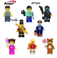 15Set KF1022 Multiclass The Three Kingdoms Zombies Fun Series Halloween Teddy Bear Animal Characters Building Blocks Kids Toys