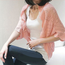 2017 women summer cardigan knitted crop sweater batwing sleeve casual loose feminino small cape outerwear air condition shrugs(China)