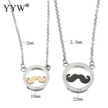 YYW New Design Forever Love Crystal Round Pendant With Beard Pendants Necklaces Stainless Steel Couple Necklace For Lover Gift(China)