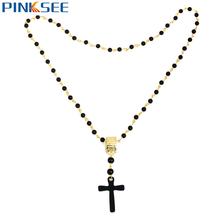 Buy Retro Men Long Necklace Jesus Chris Cross Pendant Black Rosary Beads Necklaces Gold Color Circle Chain Maxi Necklace Jewelry ) for $1.43 in AliExpress store