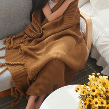 American style thick needle knitted blanket sofa cover blanket Bed Handmade Crochet Anti-Pilling Portable Blanket