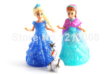 Princess Anna Elsa Figures Snowman Doll And Dress Magic Clip Cheap Children Toys House Toy Accessories Model Dolls For Girl Gift