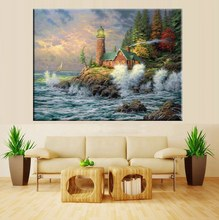 Seascape Blossoming Spray Thomas Kinkade Lighthouse by Sea Landscape Painting Canvas Artwork Prints Office Decor High Quality(China)
