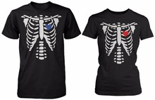 His and Her Matching Tee Shirts X-Ray Skeleton Couple T-shirts For Halloween Cotton Boyfriend Girlfriend T Shirt Euro Size S-3XL(China)