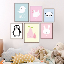 Kawaii Animal Panda Poster Print Nordic Cartoon Penguin Nursery Wall Art Picture Kids Baby Room Decor Canvas Painting No Frame