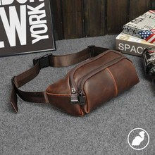 ETONWEAG Famous Brands Waist Bag Men Travel Bags Brown Vintage Leather Pouch Crossbody Zipper Fanny Pack Phone Money Belt Bag(China)