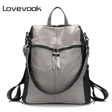 LOVEVOOK brand women backpack genuine leather school backpacks for teenage girls oxford shoulder bag large capacity travel bags(China)