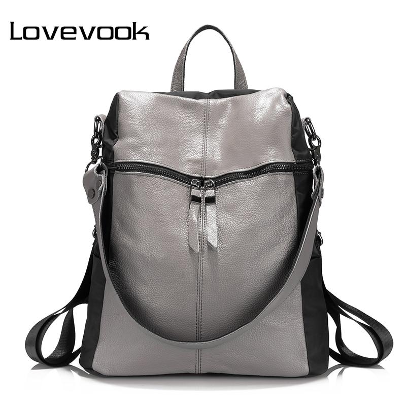 LOVEVOOK brand women backpack genuine leather school backpacks for teenage girls oxford shoulder bag large capacity travel bags<br>