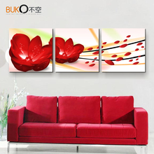 Canvas painting home decoration Wall Art Deco sofa background floral pattern tulips bright colors beautiful flowers