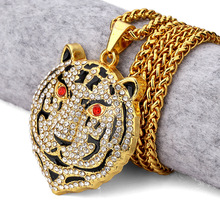 Vintage Bling Gold Red Stone Eyes Bear head Rhinestone Pendants Necklaces Men Women Hip Hop Crystal Jewelry Gifts Chains(China)