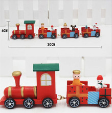 Large 30*6CM 4 Carriages Christmas Train Toy Xmas Gift wooden Craft Children wood Train Toys decoration Snowman Passengers sale(China)