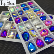 All 10x14~30x40mm Glass Crystal Teardrop Fancy Stone Pointed Back Crystals Lake Blue,Yellow AB Colors For Jewelry Making