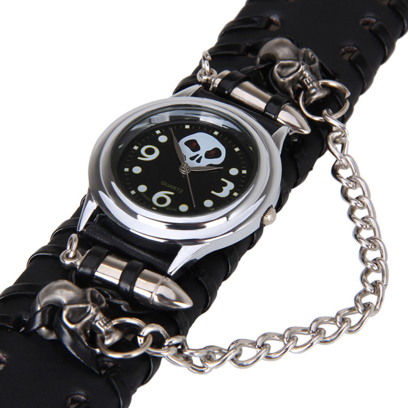 Super Personality Punk Watches Skull Leather Punk Bullet Red-eyed Dial Skull Belt Hip-Hop Cool Watch Punk Individuality Relogio<br><br>Aliexpress
