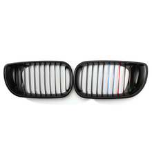 Pair Left & Right Side Matte Black M-Color Front Grill Grilles For BMW E46 2000-2006 3 Series 4 Door