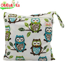 OhBabyKa Waterproof Single Zipper Pocket Baby Diaper Storage Bag Washable Cloth Diaper Wet Wet and Dry Bags with Printed 30*30CM(China)
