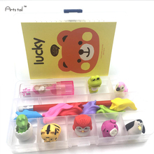 Kawaii School Stationery Set Animal Eraser Pencil Notebook Ball point Pen Items All In An Organizer Box Study Supplies(China)