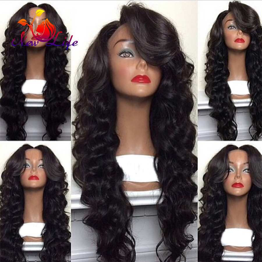 Synthetic Lace Front Wig Natural Black Deep Wave Free Part Synthetic Lace Hair Wig Heat Resistant Glueless Wigs for Black Women<br><br>Aliexpress