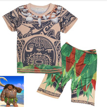 (2 pieces) New Moana KidsTop Shirt pant cosplay costume Summer Cartoon set for 3-9Y kids(China)