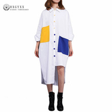 2017 Direct Selling Rushed Full Casual Button Regular Summer Fashion Big Size Long Dress Front Back Hem Shirt Dresses Ok106
