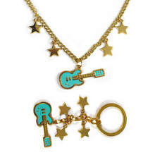 Anime Game Super Sonic Necklace guitar stars Pendant Necklace Bass Music Necklace Keychain Fashion Stainless Cosplay Figure Toys(China)
