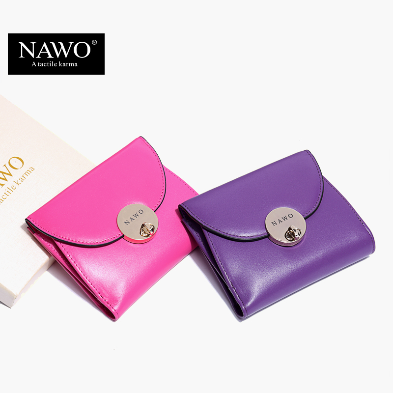 NAWO 2017 Candy Color Genuine Leather Women Wallets Brand Purses Female Button Short Wallet With Coin Pocket Ladies Mini Wallets<br><br>Aliexpress