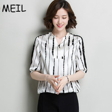 MEIL summer newself-cultivation 100%,  silk irregular stripes, hit color, sexy small, V collar five points sleeve shirt