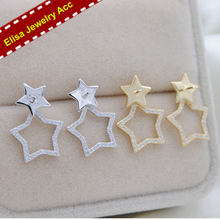 Double Stars Stud Earrings Fittings S925 Sterling Silver Big&Small Stars Earrings Holder Women DIY Pearl Earrings Jewelry Acc