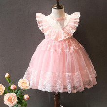 Korean Children's Garment 2016 Summer New Style Girl Baby Vest Sweet Princess Lace Lace Thick Disorderly Yarn Dress You(China)