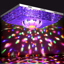 HGHomeart  Lustre Luminaire Modern Crystal Ceiling Lamp LED Mobile Phone Bluetooth U Disk MP3 Music Colorful Night Light