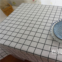 DAXIAOBU Cotton Linen Cloth Print Geometry Check White Bottom Customed Tablecloth Cover 1214E