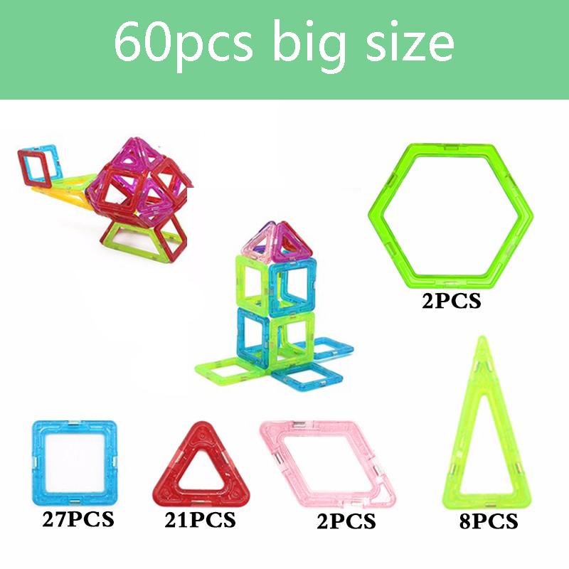 Zhenduo 60Pcs Big Size Plastic Models Building Blocks 3D DIY Learning Educational Bricks Designer Magnetic Blocks Kids Toys<br>