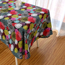 Latest High Grade Eco-friendly Colorful Fireworks Table Cloth Yellow Pink Blue Floral Table Cover on Desk Festival Tabel Linen(China)