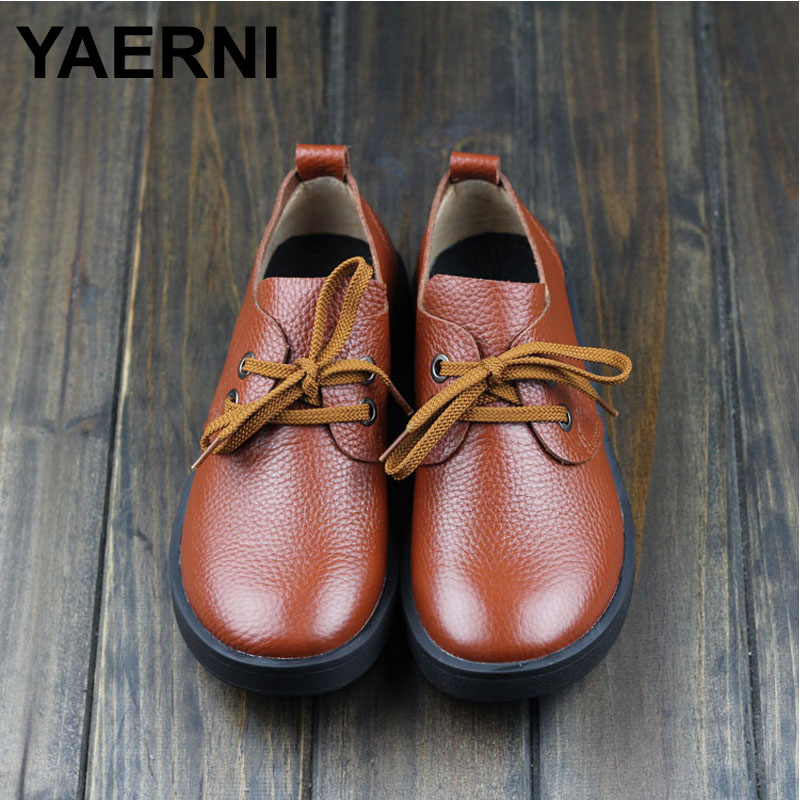 YAERNI  Women Genuine Leather Flat Shoes Thick Rubber Sole Casual Lace Up Flats Fashion Oxford Shoes<br>