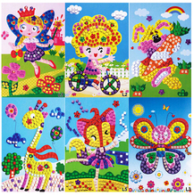 L Crystal EVA Foam Mosaic Sticker Painting Kids Children Kindergarten 3D Puzzles DIY Crafts Toys -10PCS Different